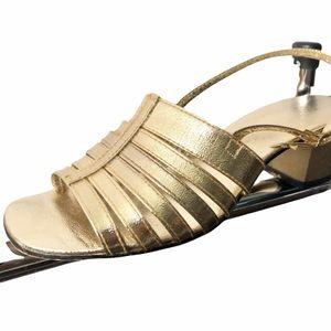 Vintage GOLD strappy sling back heeled sandal 6